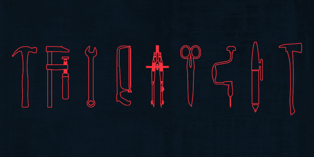 Outlines of tools in red, on a dark blue background