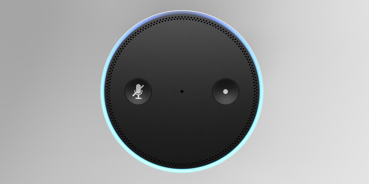 Overhead view of an Amazon Alexa device