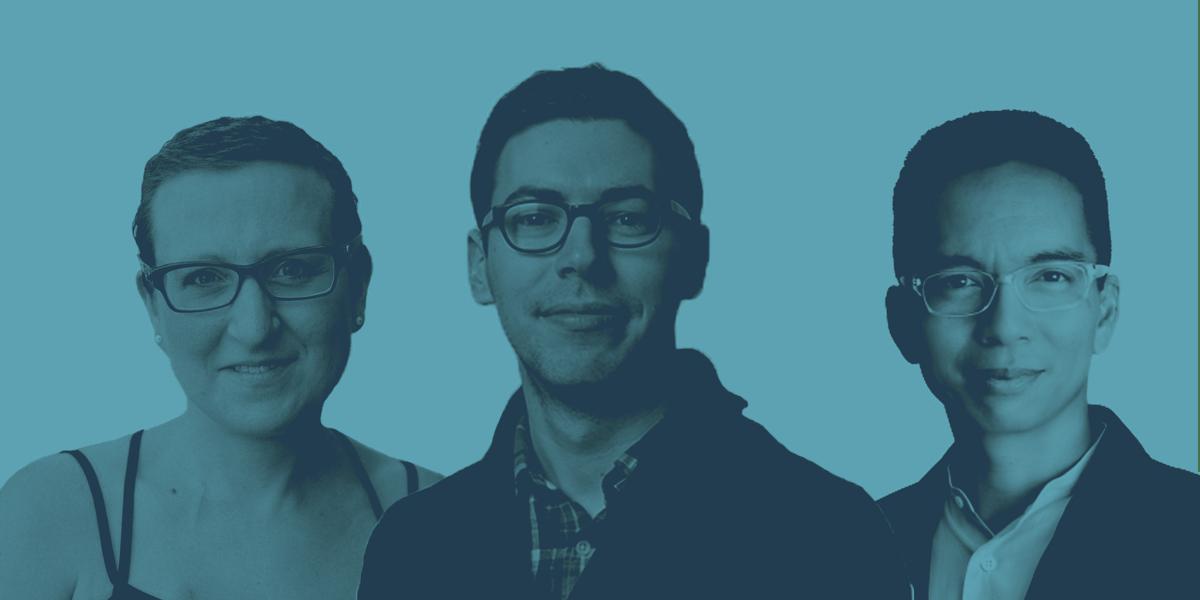 Three design experts: Lorinda Mamo, Frank Chimero, and John Maeda