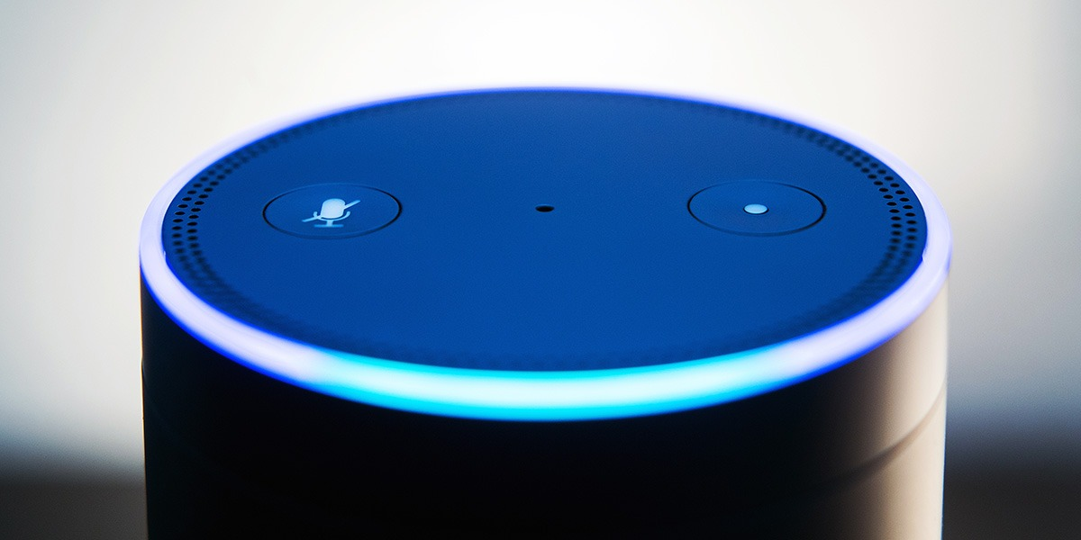 The top of a voice device