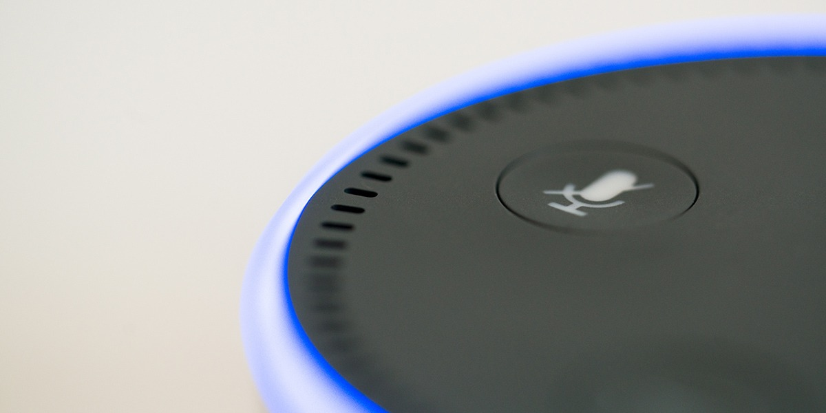 Close-up of a voice assistant device