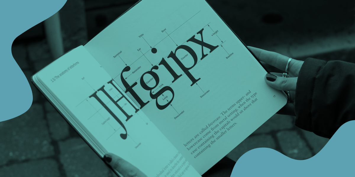 An open book with large typography