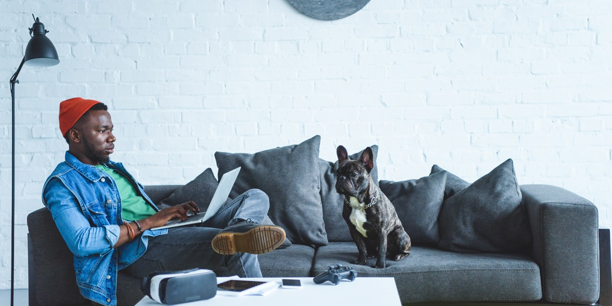 A former graphic designer, sitting on a couch with his dog, studying UX