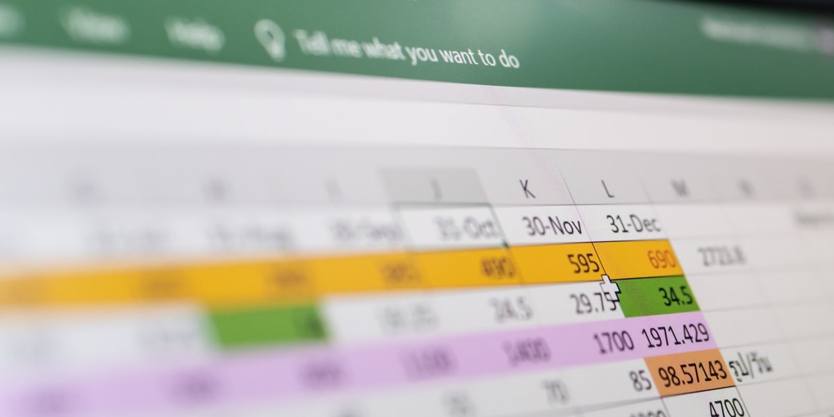 An Excel spreadsheet on a computer