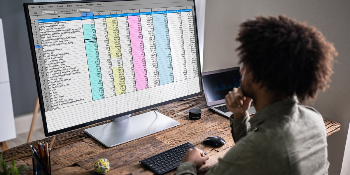A data analyst looking at a spreadsheet on a computer