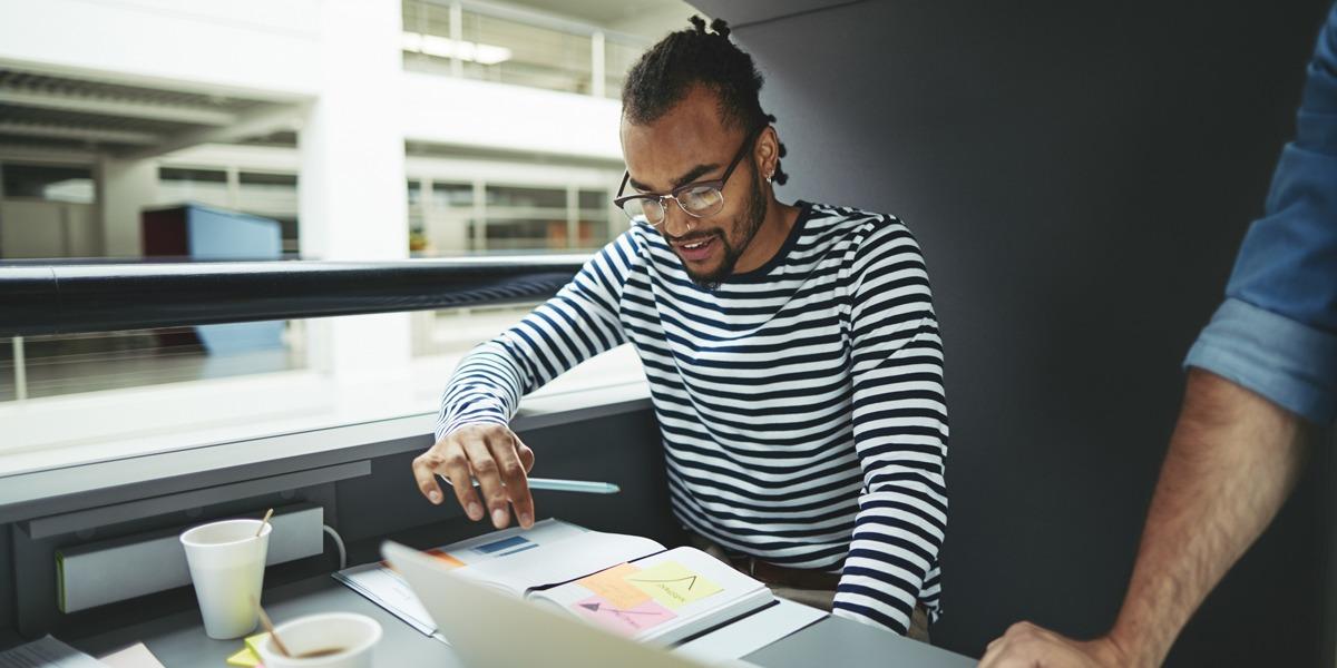 A UI designer looking at designs