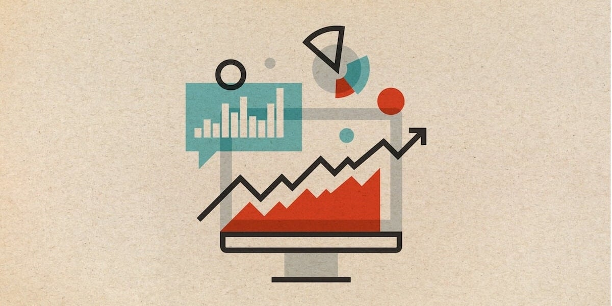 Icon-style illustration of a computer with bar graphs and pie charts around it