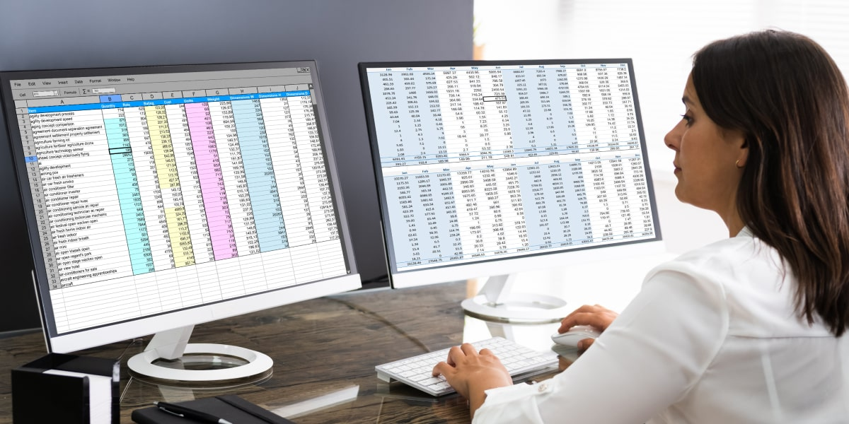 A data analyst with two desktop screens showing a database
