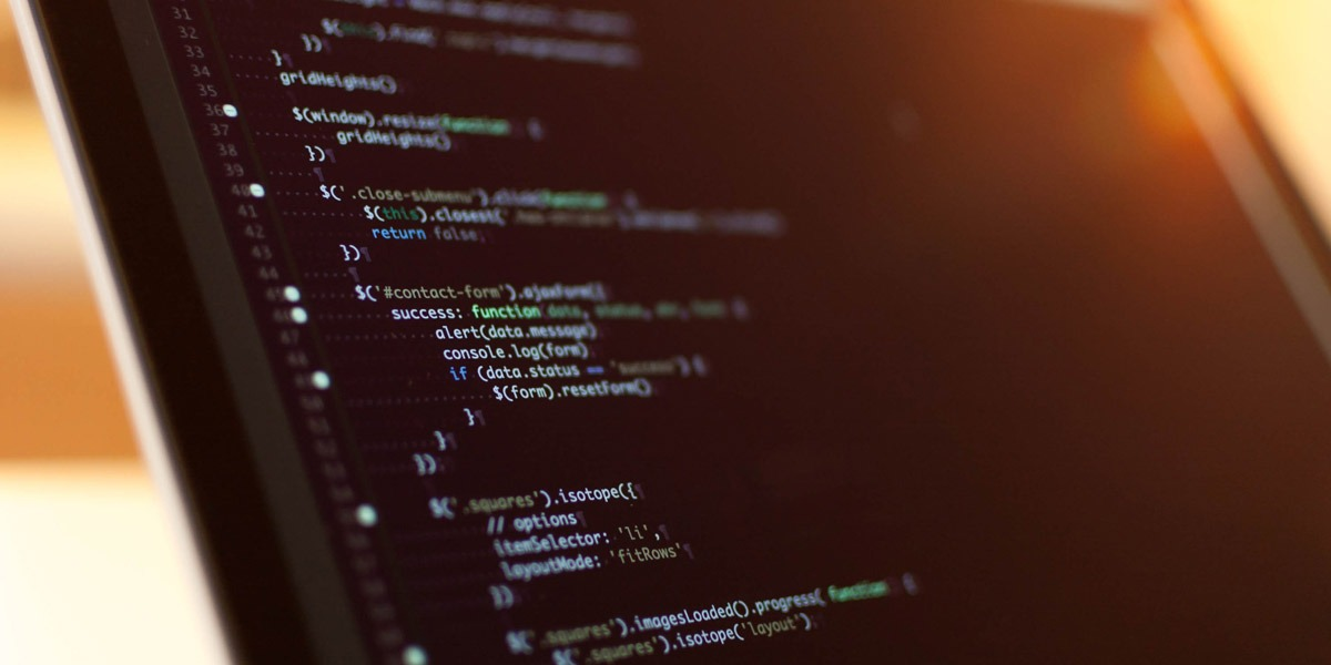 Close-up image of HTML code on a computer screen.